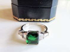 Sterling Silver 2.9ct Green Tourmaline & White Sapphire Ring