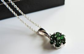 Sterling Silver Green Tourmaline Flower Cluster Necklace