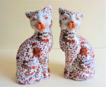 Pair Antique Japanese Imari Porcelain Cats circa 1920