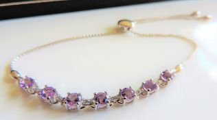 Amethyst & Diamond Slider Bracelet Sterling Silver