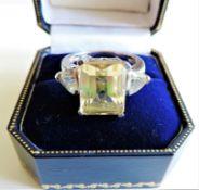 Sterling Silver 6.25ct Lemon Sapphire Ring