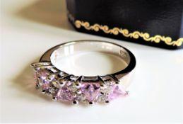 Sterling Silver Pink & White Topaz Gemstone Ring