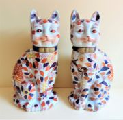Pair of Large Imari Hand Painted Porcelain Cats 36cm Tall