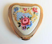 Vintage Kigu Cherie Petit Point Heart Shaped Compact