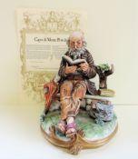 Capodimonte Figurine Gent Reading his Book Signed Milio with Certificate