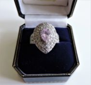 Sterling Silver Pink & White Topaz Cocktail Dress Ring