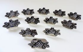 Set Twelve Vintage Rococo Style Silver Plated Menu or Place Card Holders