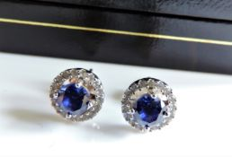 Sterling Silver Sapphire & Diamond Earrings New with Gift Box