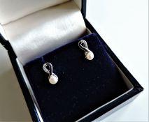Sterling Silver Cultured Pearl & Diamond Earrings
