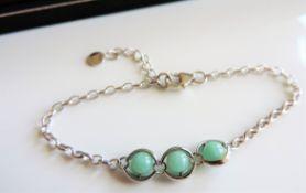 Sterling Silver & Jade Bead Bracelet