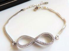 Diamond Infinity Knot Bracelet in Sterling Silver