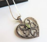 Vintage Style Sterling Silver Peridot & Marcasite Necklace
