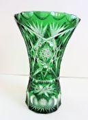 Vintage Green Bohemian Crystal Vase Cut to Clear Crystal