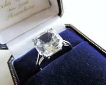 Sterling Silver White Gemstone Ring Size O