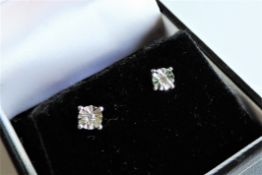 Sterling Silver Diamond Stud Earrings New with Gift Box