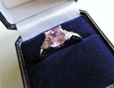 Sterling Silver Pink and White Sapphire Ring