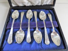 Cased Set Antique Silver Plated Tea Spoons