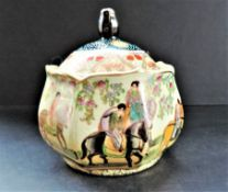 Vintage Oriental Hand Painted Lidded Jar 16cm High