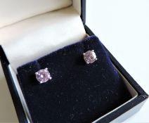 Sterling Silver 1.2 ct Pink Sapphire Stud Earrings