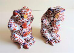Japanese Imari Porcelain Frog Figurines circa 1890's