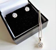 Diamonique 2.7 ct Solitaire Pendant Chain Earrings Set Sterling Silver