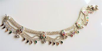 Hand Made Sterling Silver Indian Ankle Bracelet 52grams