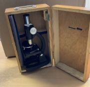 Vintage Boxed Greenkat Microscope With Slides & Tools