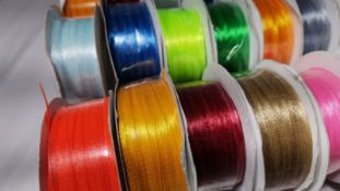 20 Rolls of 3mm Wide x 100 Yards of Smooth Satin Ribbon. RRP £140