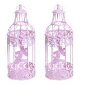 2x Pink Metal Decorative Wedding Birdcages. RRP £29.99