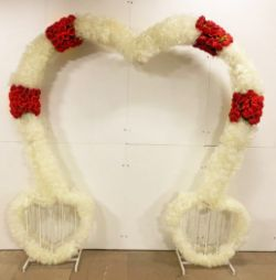 Professional 2.8m Heart Shaped Wedding Arch with Ivory and Red Flowers. RRP £999