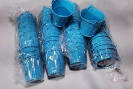 48x Ocean Blue Metal Decorative Pails. RRP £72