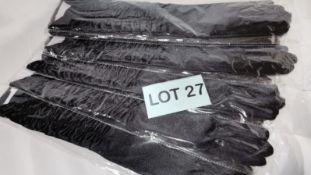 6x Ladies Black Ruffled silky lycra gloves. RRP £78