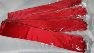 4x Ladies long red silky lycra gloves. RRP £52