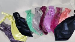 10x Adults Pre-tied Silky Satin Cravat Ties in Various Colours. RRP £50