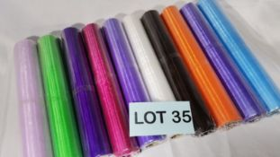 10 Rolls of 10m Mixed Colour Sheer Organza Material. RRP £70