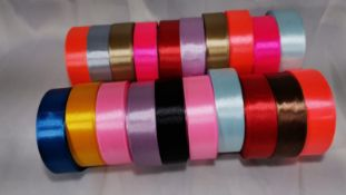20 Rolls of 25mm Wide x 25 Yards of Smooth Satin Ribbon. RRP £80