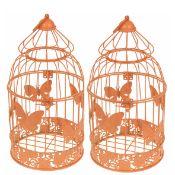 Set of 2 Peach Decorative Butterfly Birdcage. RRP £32