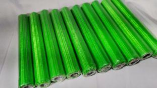 10 Rolls of 10m Green Sheer Organza Material. RRP £70