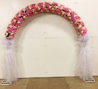 Professional Metal 275cm Pink and Ivory Wedding Flower Arch. RRP £999