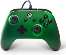 (R14C) 5x Power A Xbox One & Windows 10 Enhanced Wired Controller RRP £29.99 Each. (3x Emerald Gre