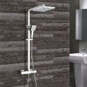 New (G33) Synergy Square Thermostatic Bar Mixer Shower with Shower Kit and Fixed Head - Chrome....