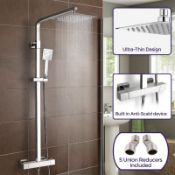 New (G32) Thermostatic Shower Mixer With Slide Rail Kit Square. Above the handset sits this stu...