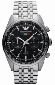 Men's Emporio Armani AR5983 Quartz Black Dial Stainless Steel Chronograph Watch