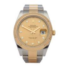Rolex Datejust 41 Diamond 18K Yellow Gold & Stainless Steel Watch 126333
