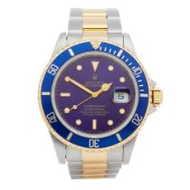 Rolex Submariner Date Purple Patina Dial 18K Yellow Gold & Stainless Steel Watch 16613