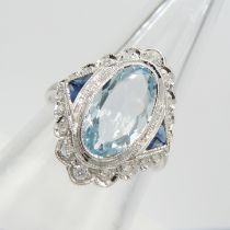 A Victorian-style 18ct white gold 1.99 carat aquamarine, diamond and sapphire cocktail ring