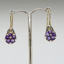 A pair of vintage-style heart-cut amethyst and round-cut diamond drop earrings, boxed