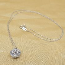 A dazzling 0.50 carat diamond cluster necklace in 10ct white gold, boxed