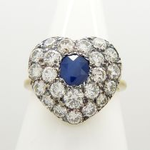 A hand-made, certificated, sapphire and diamond cluster heart-shaped ring in 18ct yellow gold