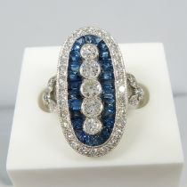 A stunning 1.00ct diamond and 1.45ct blue sapphire cocktail ring in platinum
